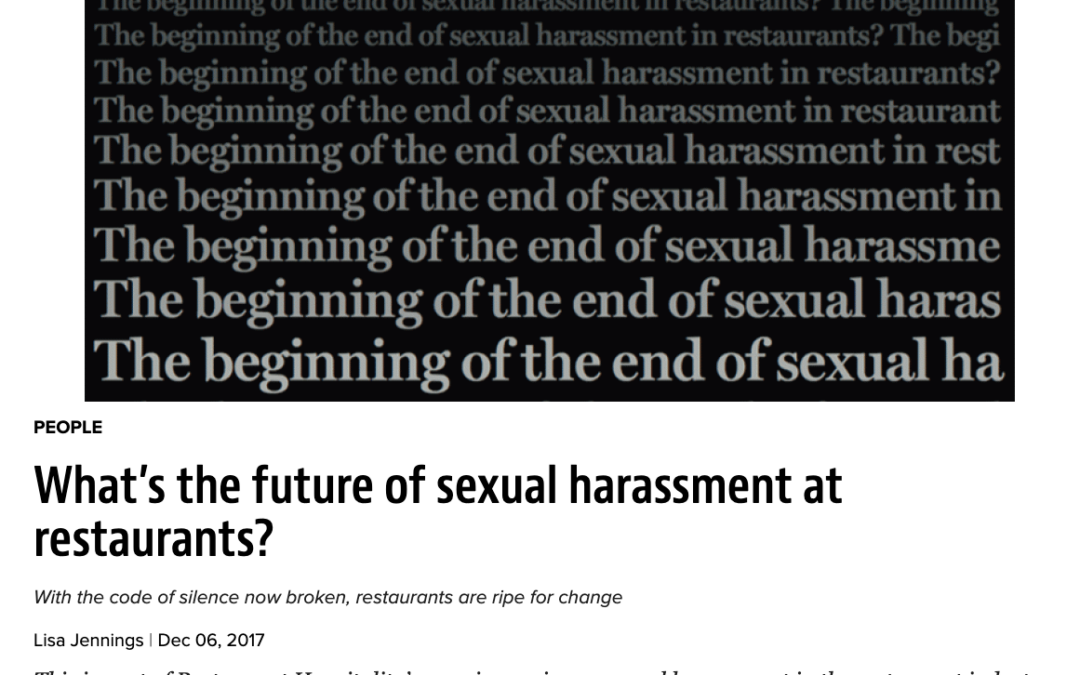 Aaron Colby Quoted in Restaurant Hospitality about Harassment in the Workplace