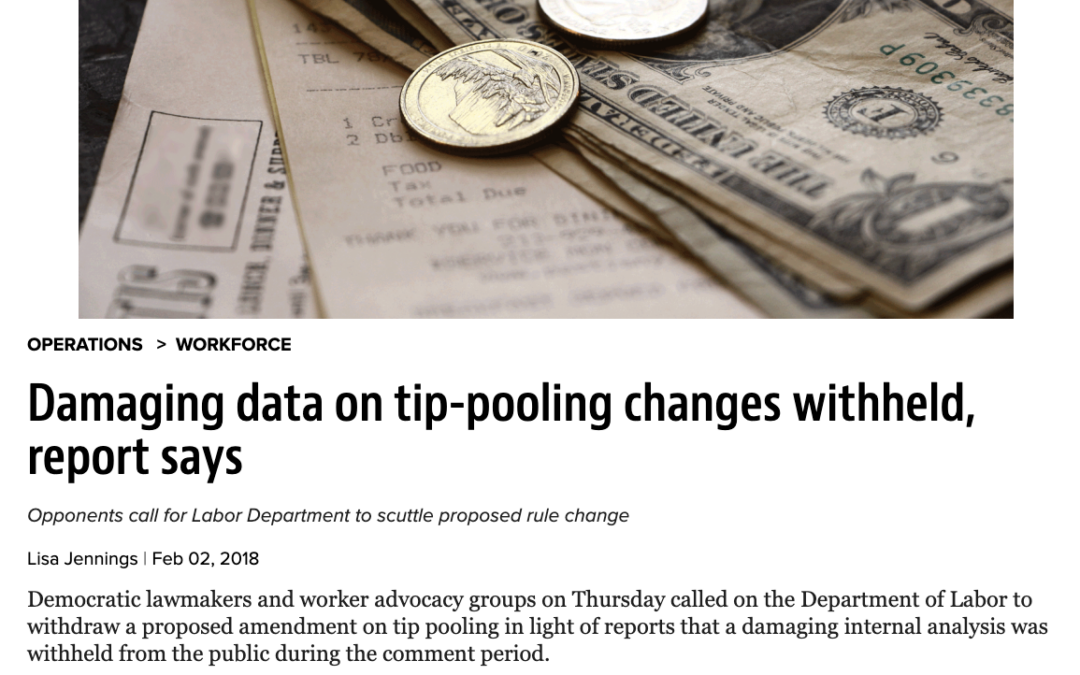 Aaron Colby Quoted in Nation's Restaurant News about Tip Pooling