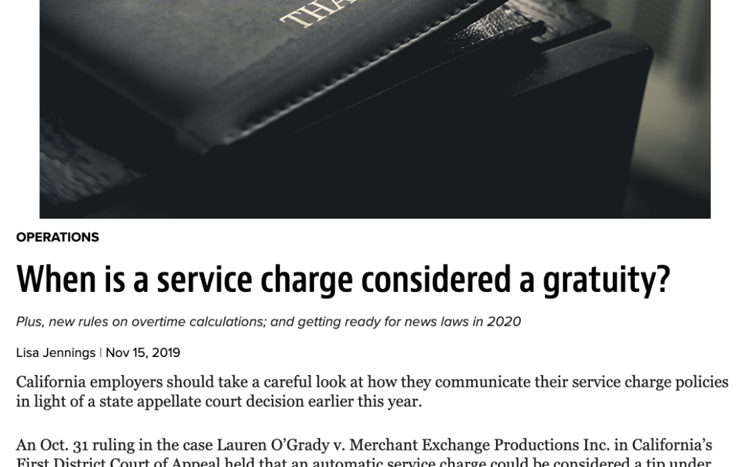 Aaron Colby Quoted in Restaurant Hospitality about Tips and Service Charges