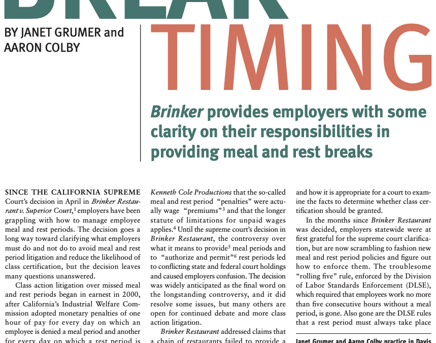 Aaron Colby Published in Los Angeles Lawyer about Employee Breaks