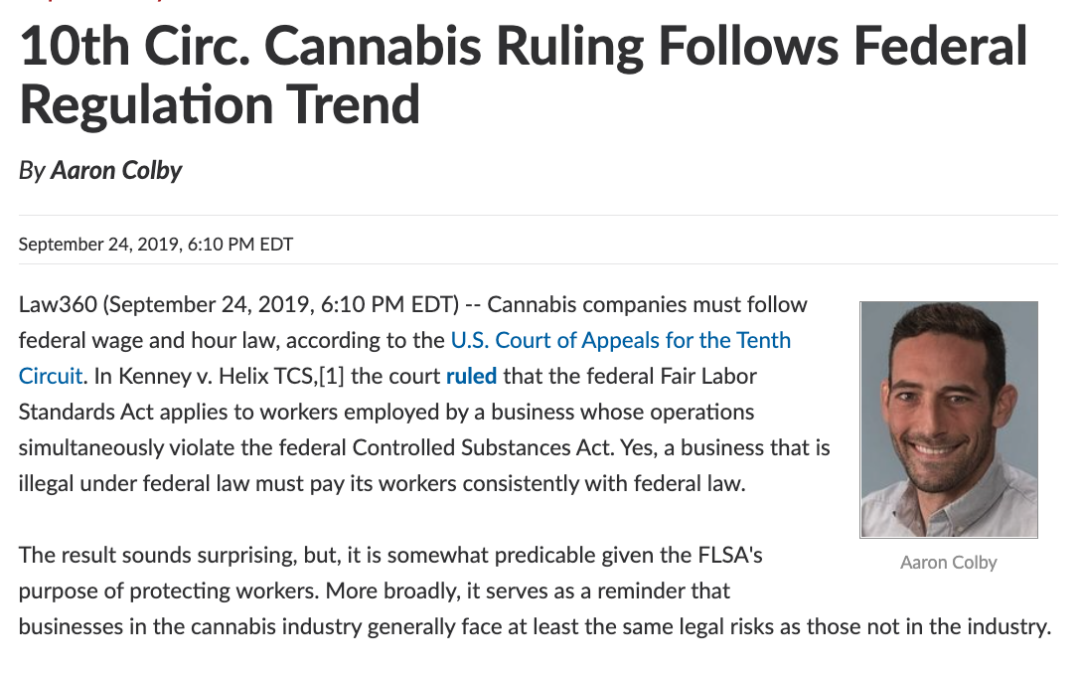 Aaron Colby Published in Law360 about Paying Cannabis Workers