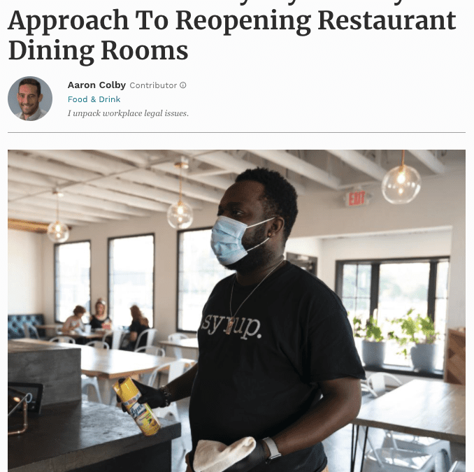 Aaron Colby Published on Forbes.com about Dining Room Restrictions