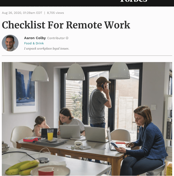 Aaron Colby Published on Forbes.com about Checklist for Working Remotely