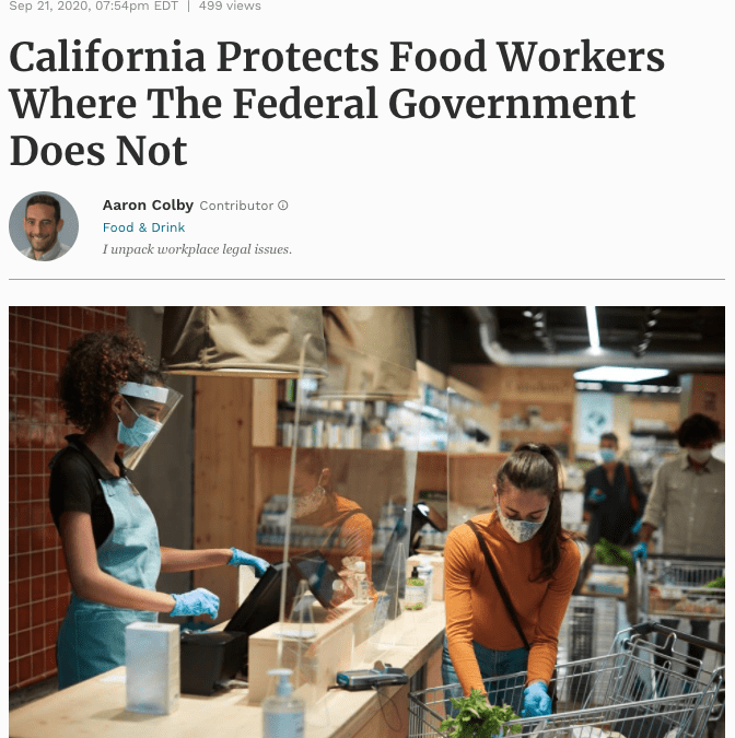 Aaron Colby Published on Forbes.com about Protecting Food Industry Workers  Copy