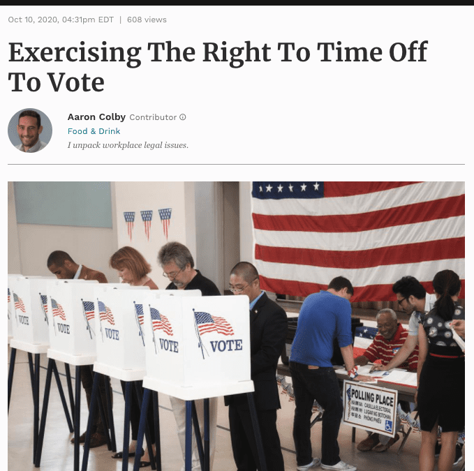 Aaron Colby Published on Forbes.com about Employee Voting Rights