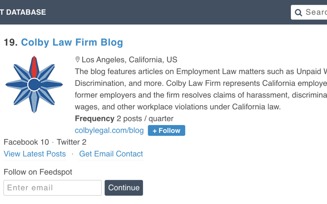 Colby Law Blog Named Top 40 California Law Blog